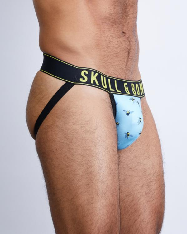 SKULL AND BONES HAND PAINTED BEES JOCKSTRAP - Blue