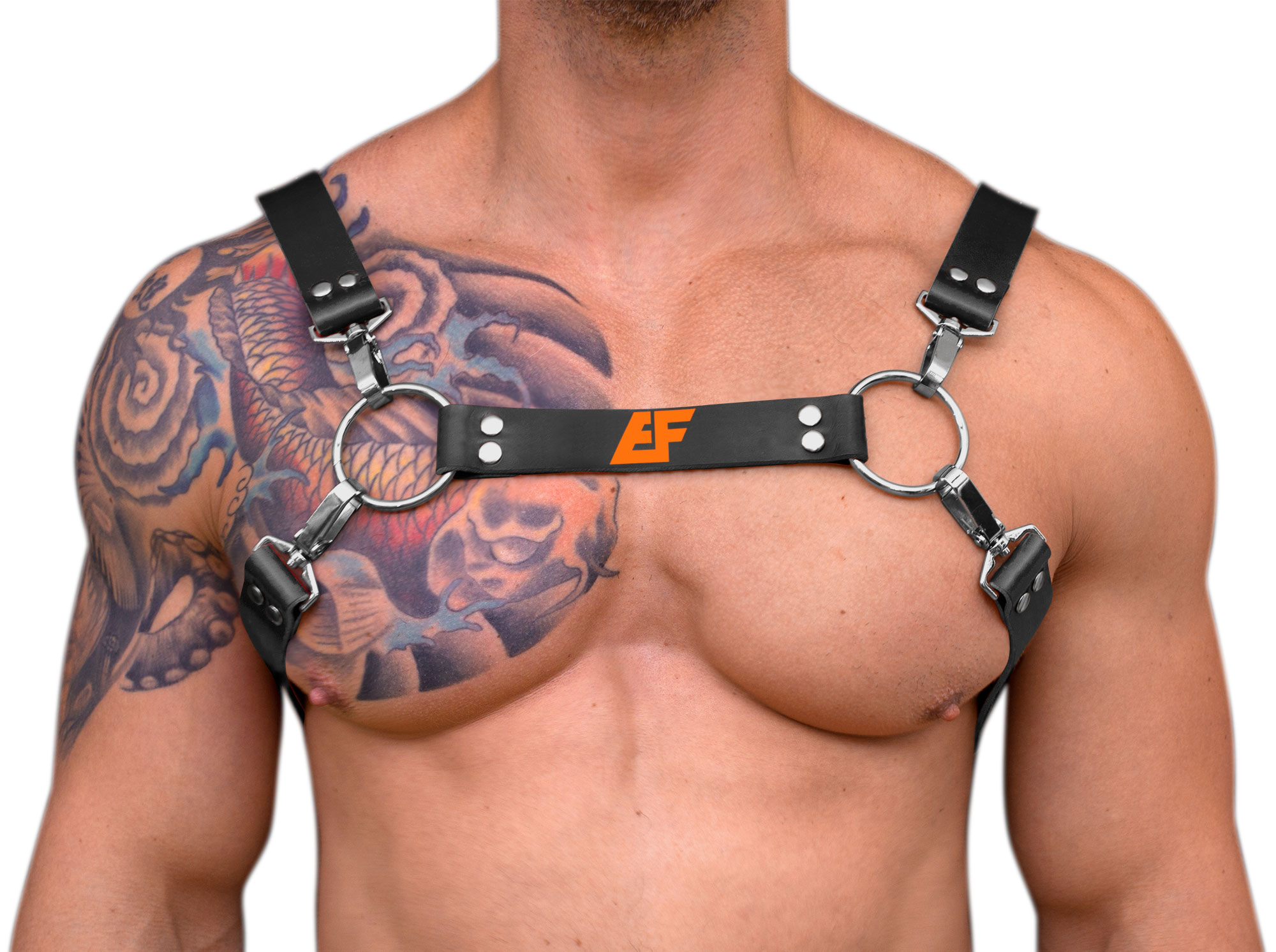 STRONG PUP H-STYLE LEATHER EF LOGO CHEST HARNESS - Black