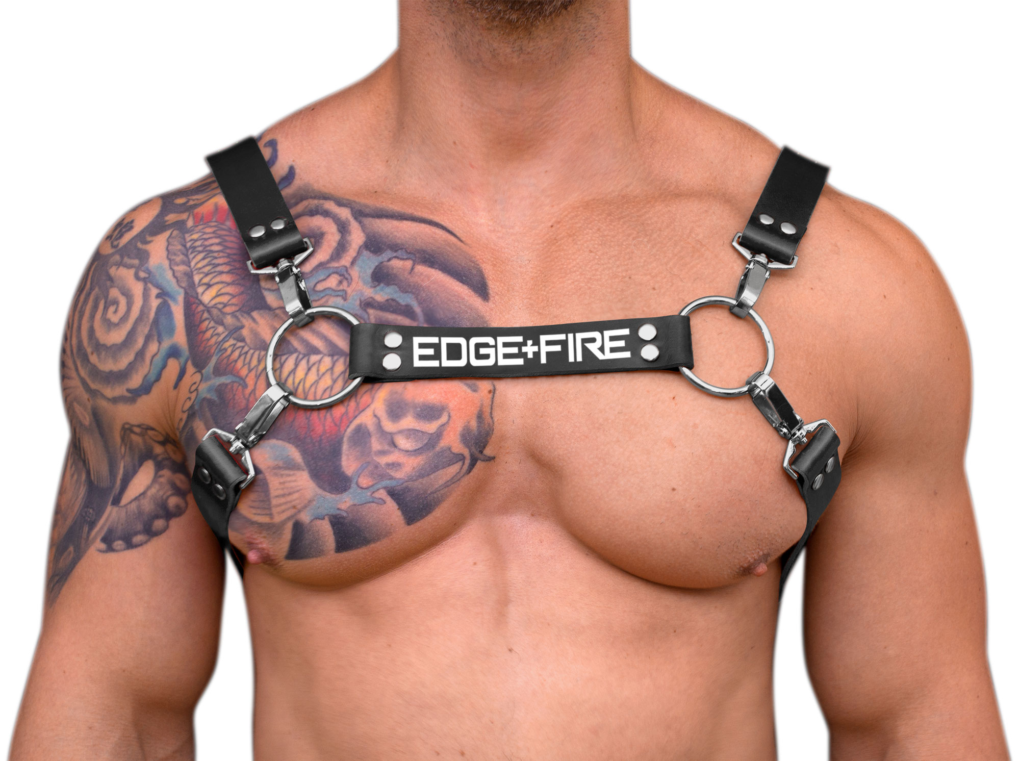 STRONG PUP H-STYLE LEATHER EDGE+FIRE CHEST HARNESS - Black