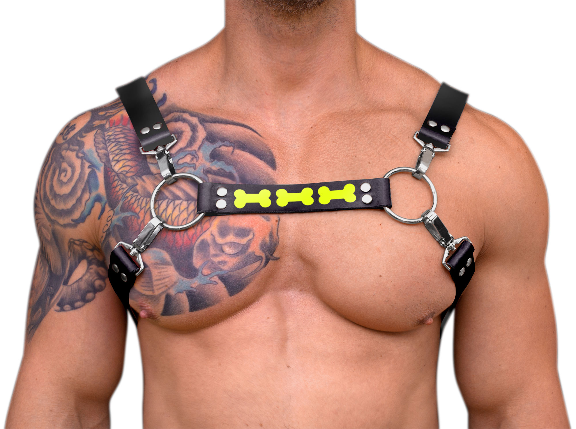 STRONG PUP 8-STYLE RUBBER BONE HARNESS - Black
