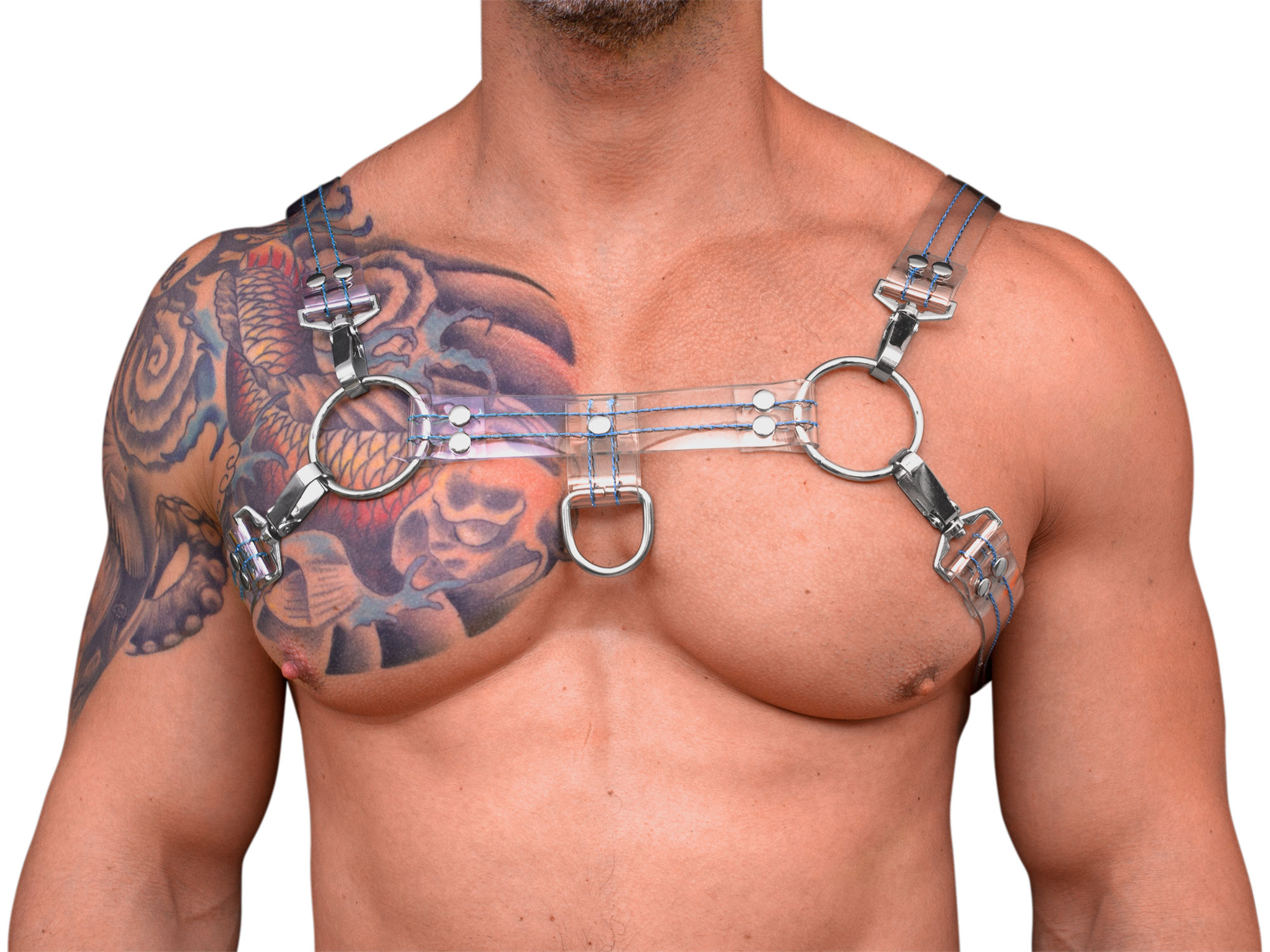 STRONG PUP Y-STYLE CLEAR PVC THICK STITCHED THREAD CHEST HARNESS