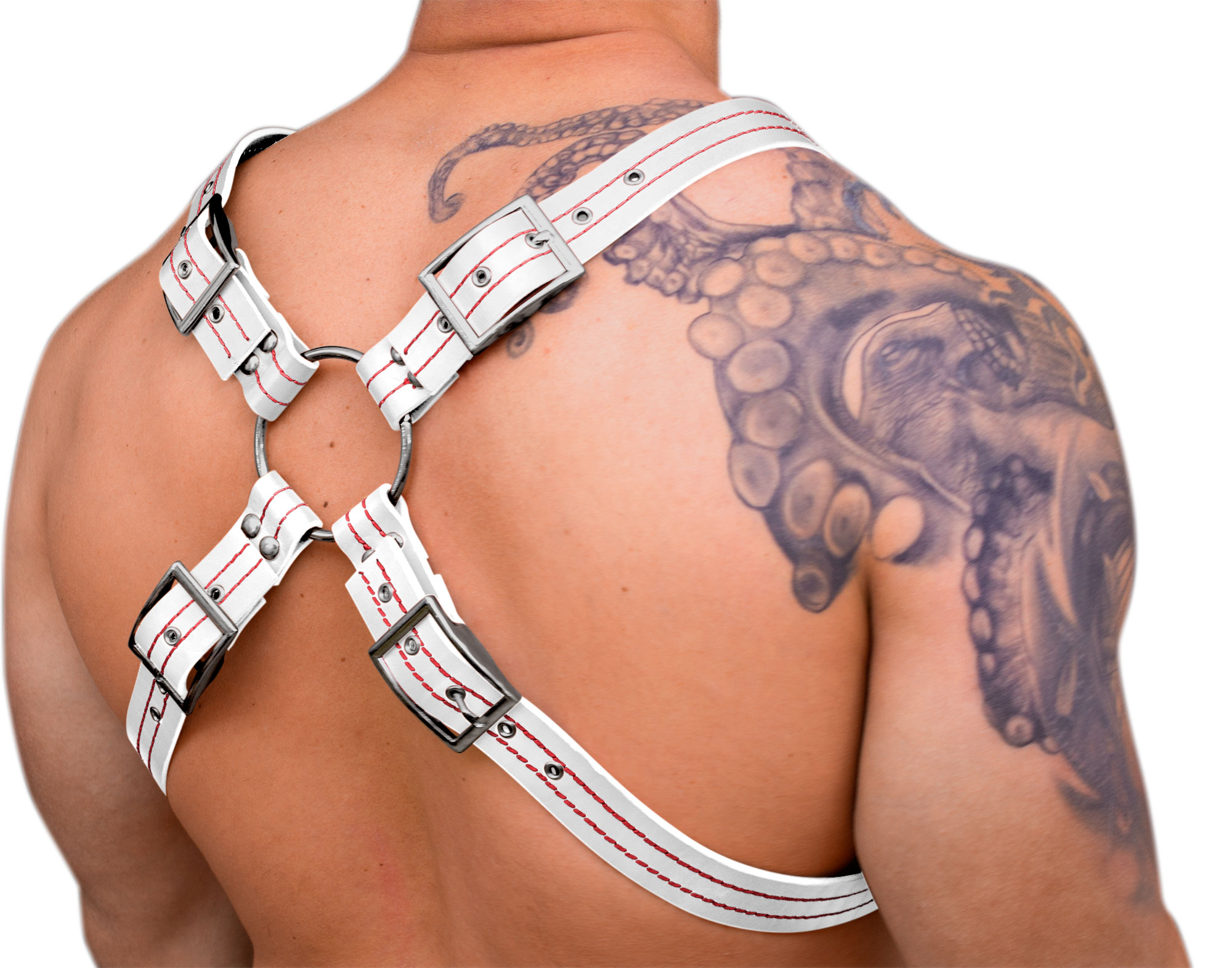 STRONG PUP X-STYLE LEATHER THICK STITCHED THREAD CHEST HARNESS