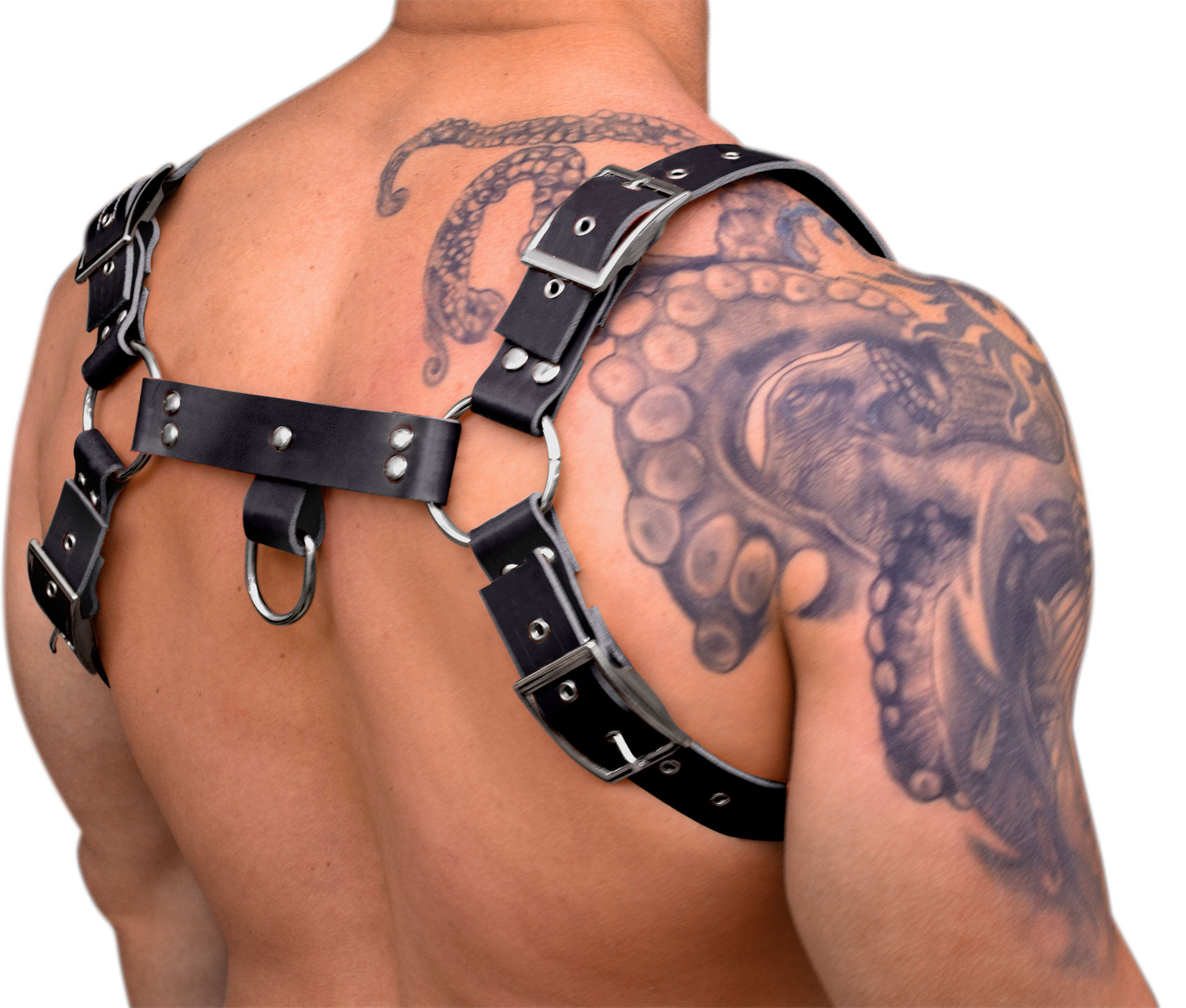 STRONG PUP H-STYLE RUBBER EDGE+FIRE CHEST HARNESS - Black