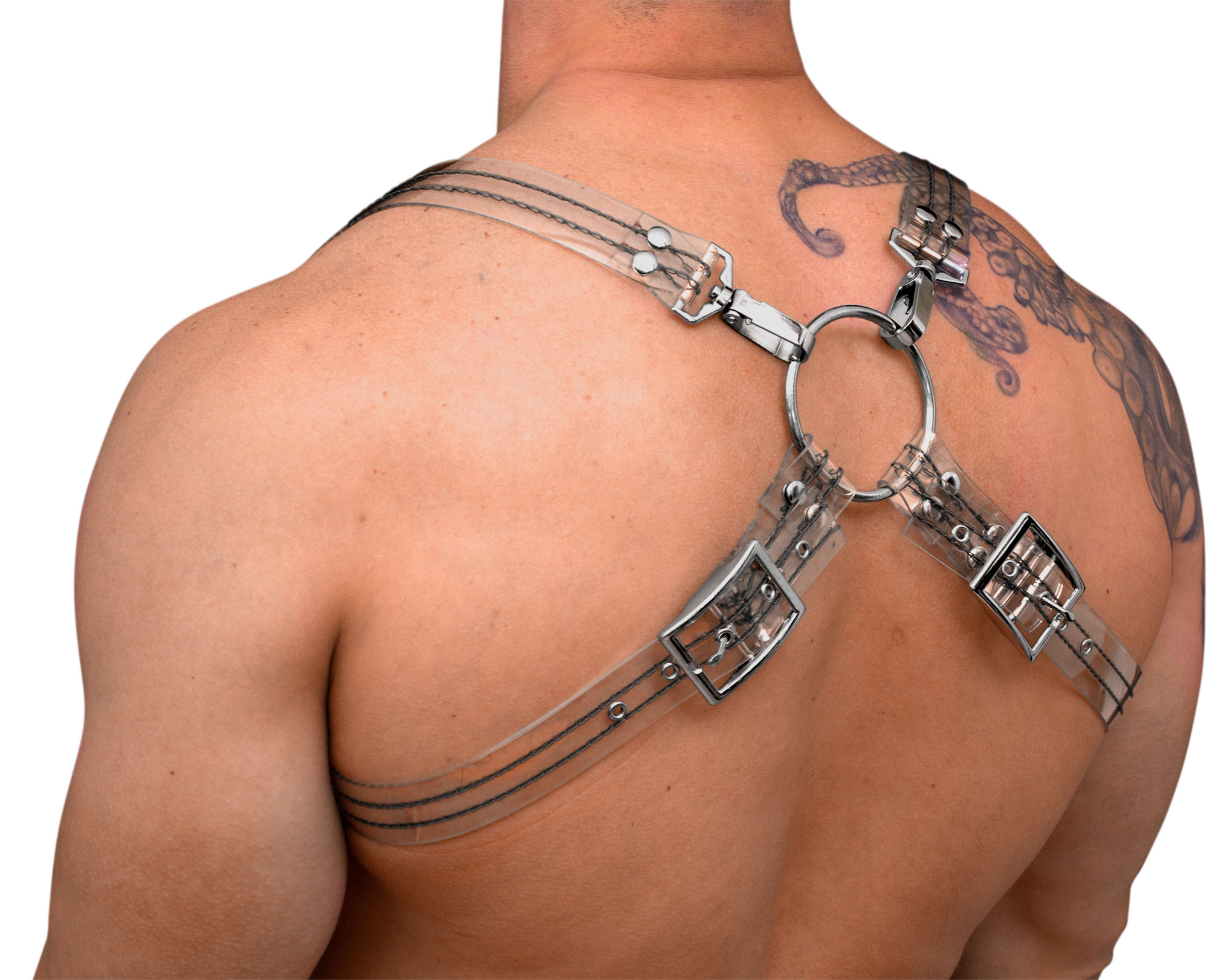 STRONG PUP 8-STYLE CLEAR PVC THICK STITCHED THREAD HARNESS
