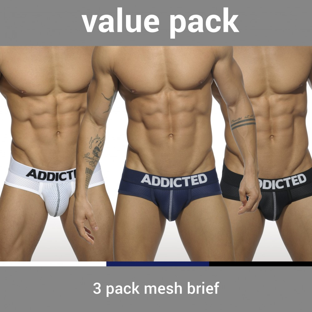 ADDICTED 3-PACK MESH BRIEF PUSH UP - 3 Colours