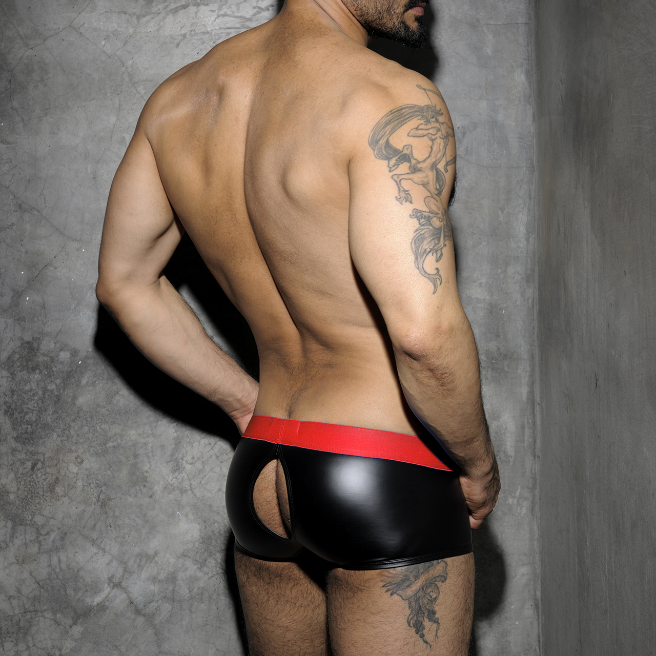 ADDICTED FETISH RUB BOXER BACK OPEN - Red