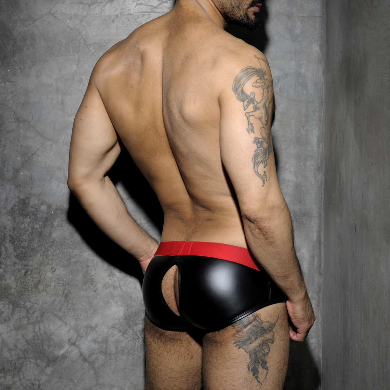 ADDICTED FETISH RUB BRIEF BACK OPEN - Red
