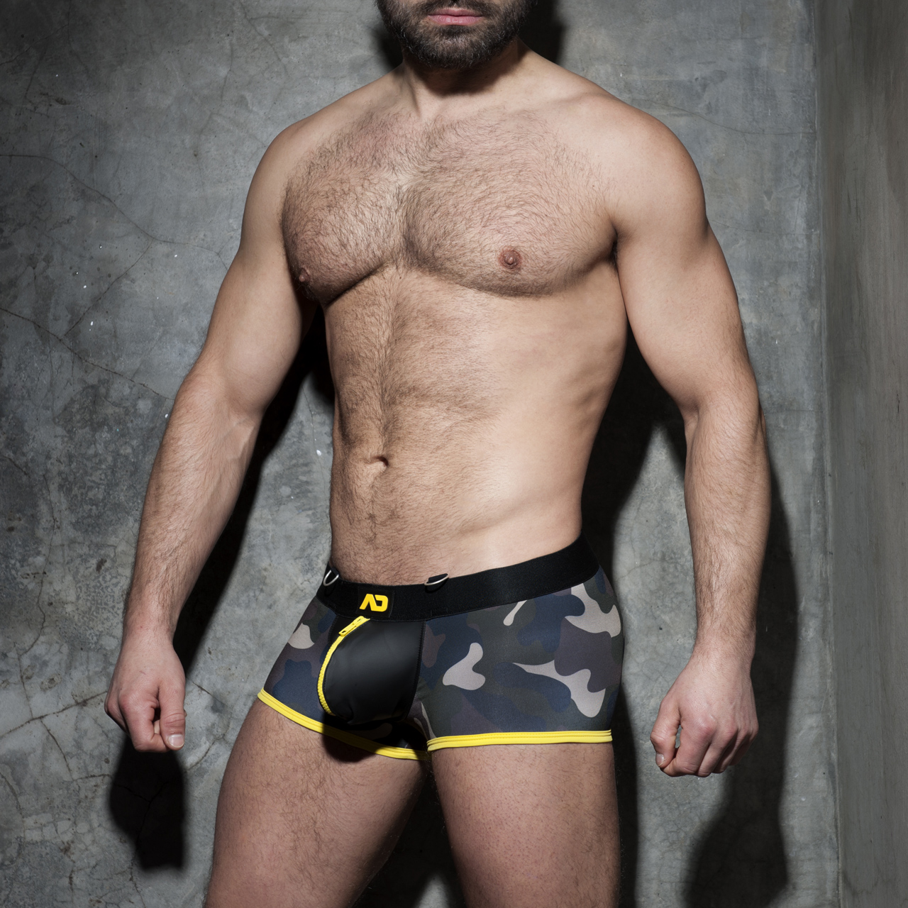 ADDICTED FETISH ZIPPER CAMO BOXER - Yellow