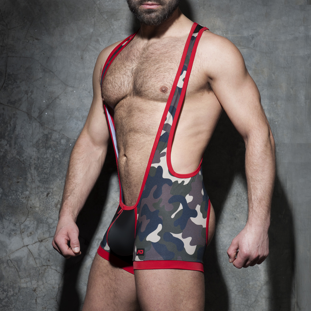 ADDICTED FETISH ZIPPER CAMO OPEN SINGLET - Red
