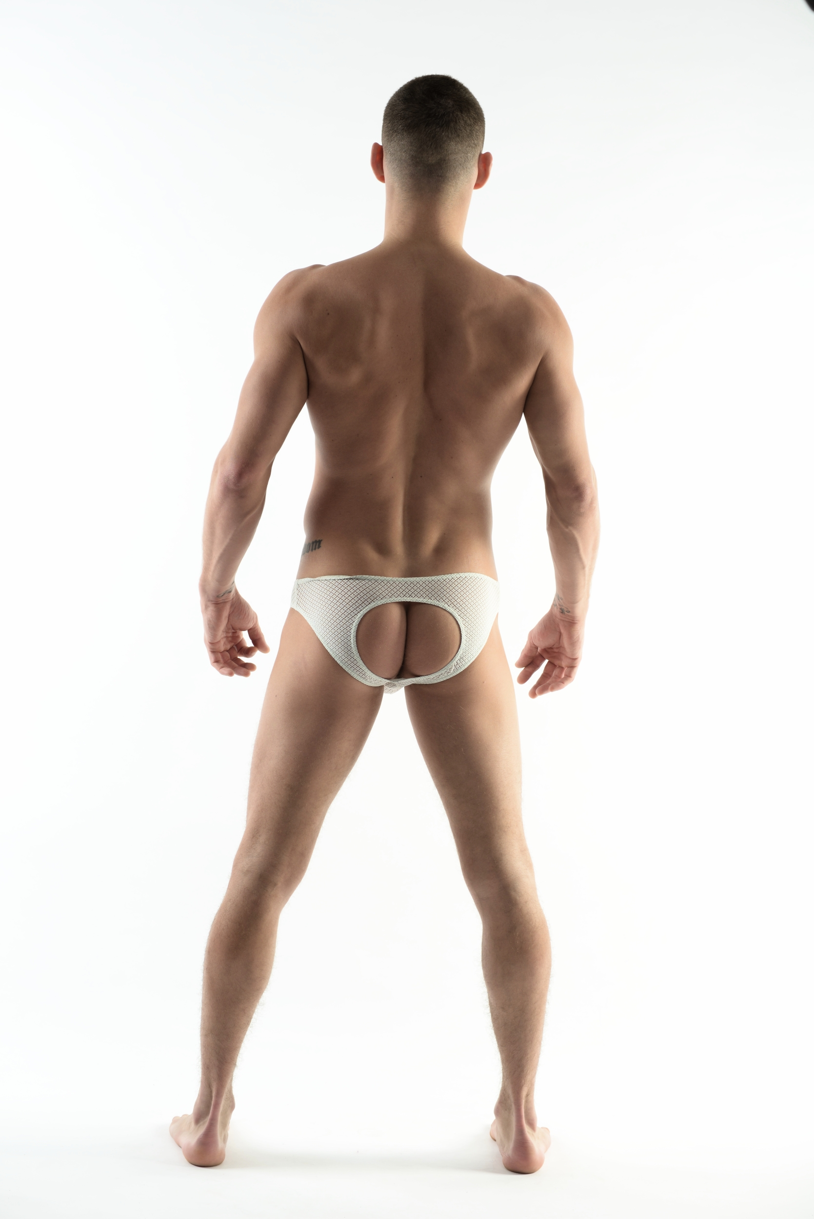 DMXGEAR LOVE BOY WHITE LACE BACKLESS BRIEF